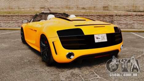 Audi R8 GT Spyder para GTA 4 traseira esquerda vista