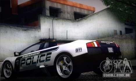 Lamborghini Murciélago polícia 2005 para GTA San Andreas esquerda vista