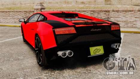 Lamborghini Gallardo 2013 para GTA 4 traseira esquerda vista