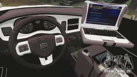 Dodge Charger 2012 NYPD [ELS] para GTA 4 vista de volta
