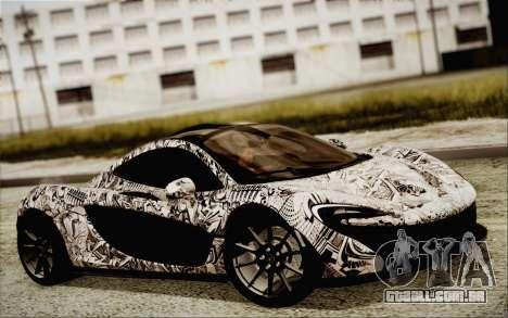 McLaren P1 2014 v2 para GTA San Andreas traseira esquerda vista
