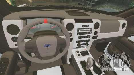 Ford F-150 SVT Raptor 2011 ECOBoost para GTA 4 vista interior