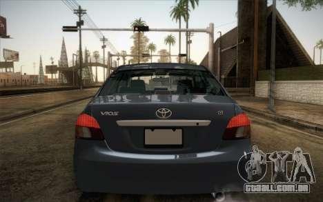 Toyota Vios 2008 para GTA San Andreas traseira esquerda vista