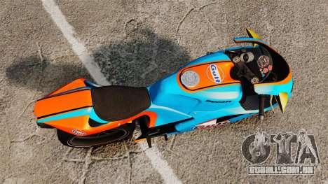Ducati 848 Gulf para GTA 4 traseira esquerda vista