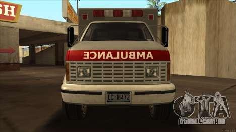 Ambulance HD from GTA 3 para GTA San Andreas traseira esquerda vista