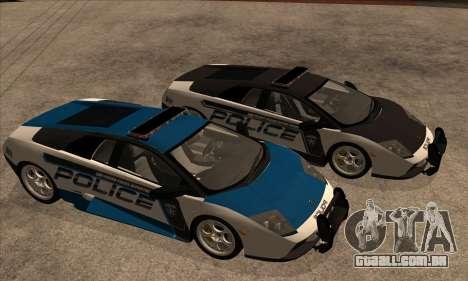 Lamborghini Murciélago polícia 2005 para GTA San Andreas vista interior
