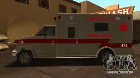 Ambulance HD from GTA 3 para GTA San Andreas esquerda vista
