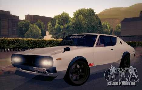 Nissan Skyline KPGC110 Fatlace para GTA San Andreas vista traseira