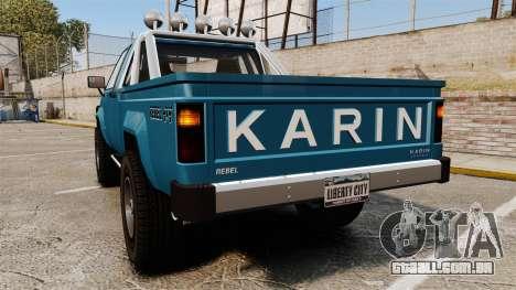 Karin Rebel 4x4 v2.0 para GTA 4 traseira esquerda vista