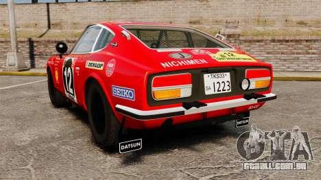 Datsun 240Z 1971 East African Safari para GTA 4 traseira esquerda vista