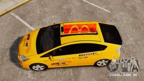 Toyota Prius 2011 Adelaide Yellow Taxi para GTA 4 vista direita