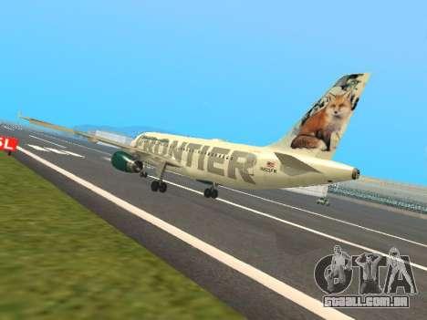 Airbus A319-111 Frontier Airlines Red Foxy para GTA San Andreas traseira esquerda vista