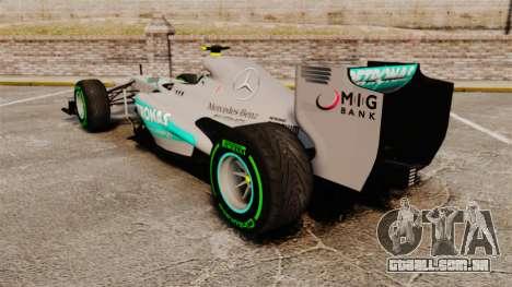 Mercedes AMG F1 W04 v4 para GTA 4 traseira esquerda vista