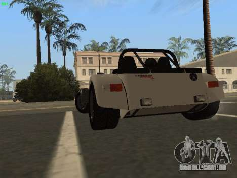 Caterham 7 Superlight R500 para GTA San Andreas traseira esquerda vista