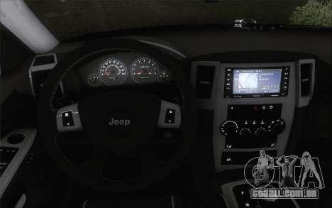 Jeep Cherokee SRT8 para GTA San Andreas traseira esquerda vista