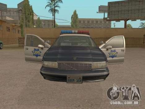 Chevrolet Caprice SFPD 1991 para GTA San Andreas traseira esquerda vista