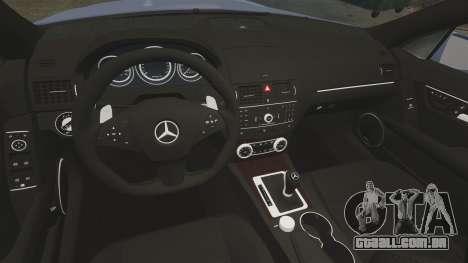 Mercedes-Benz C63 AMG 2010 para GTA 4 vista interior