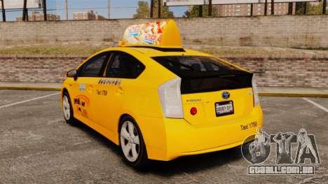 Toyota Prius 2011 Adelaide Yellow Taxi para GTA 4 traseira esquerda vista