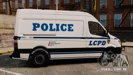Mercedes-Benz Sprinter 2500 Prisoner Transport para GTA 4 esquerda vista