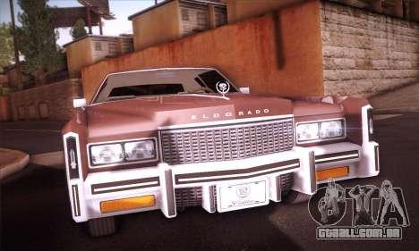 Cadillac Eldorado 1978 Coupe para GTA San Andreas vista traseira