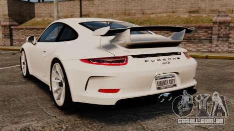 Porsche 911 GT3 (991) 2013 para GTA 4 traseira esquerda vista