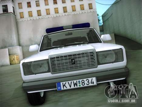 Lada 2107 Rendőrség para GTA San Andreas vista traseira