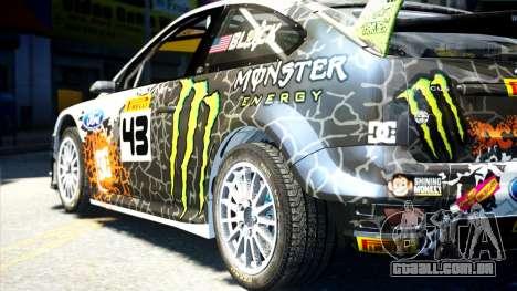 Ford Focus RS Monster World Rally Team WRC para GTA 4 esquerda vista