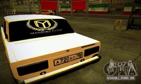 VAZ 2107 BUNKER para GTA San Andreas traseira esquerda vista