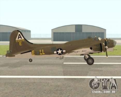 B-17G para GTA San Andreas traseira esquerda vista