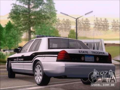 Ford Crown Victoria San Andreas State Trooper para GTA San Andreas traseira esquerda vista