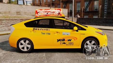 Toyota Prius 2011 Adelaide Yellow Taxi para GTA 4 esquerda vista