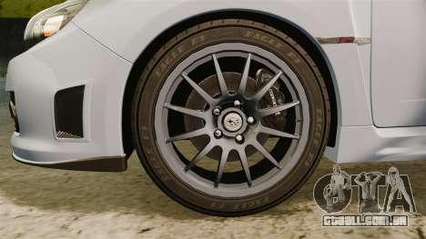 Subaru Impreza Cosworth STI CS400 2010 para GTA 4 vista de volta