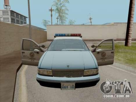 Chevrolet Caprice LAPD 1991 para GTA San Andreas traseira esquerda vista