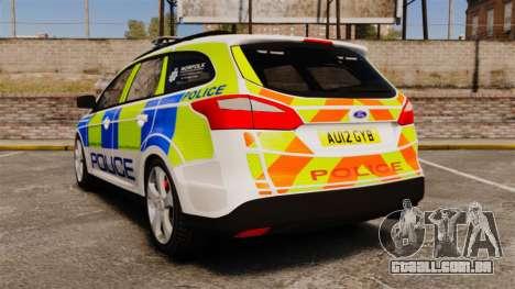Ford Focus Estate Norfolk Constabulary [ELS] para GTA 4 traseira esquerda vista