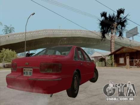 Chevrolet Caprice 1991 para GTA San Andreas vista inferior