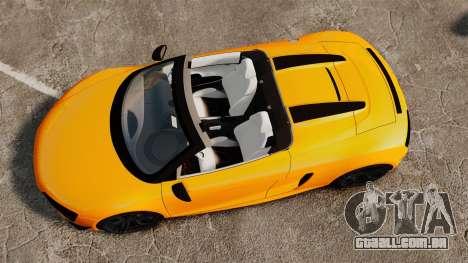 Audi R8 GT Spyder para GTA 4 vista direita