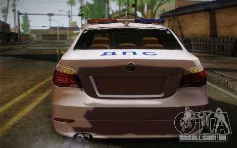 BMW 530xd DPS para GTA San Andreas traseira esquerda vista