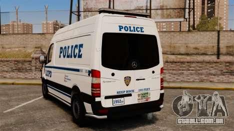 Mercedes-Benz Sprinter 2500 Prisoner Transport para GTA 4 traseira esquerda vista