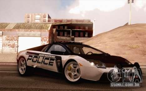 Lamborghini Murciélago polícia 2005 para vista lateral GTA San Andreas