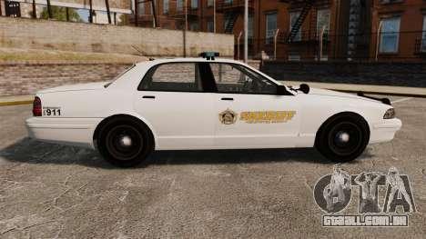 GTA V Police Vapid Cruiser Sheriff para GTA 4 esquerda vista