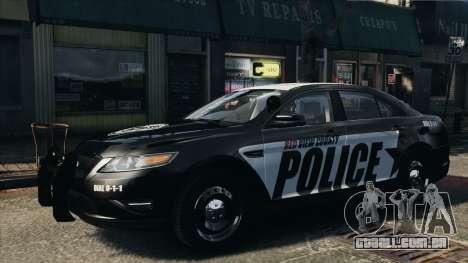 Ford Taurus Police Interceptor 2010 para GTA 4 traseira esquerda vista