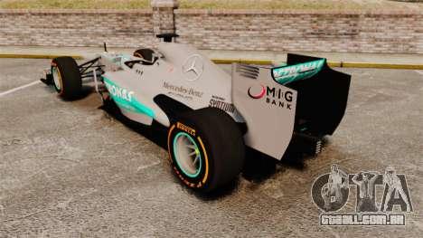 Mercedes AMG F1 W04 v3 para GTA 4 traseira esquerda vista