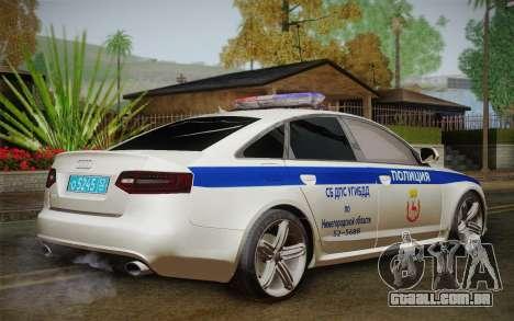 Audi RS6 Police para GTA San Andreas esquerda vista