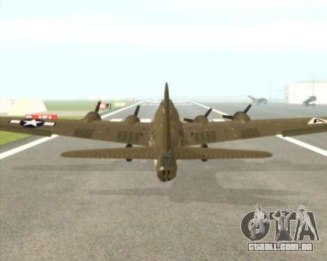 B-17G para GTA San Andreas vista traseira