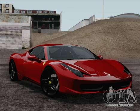 Ferrari 458 Italia 2010 para GTA San Andreas vista direita