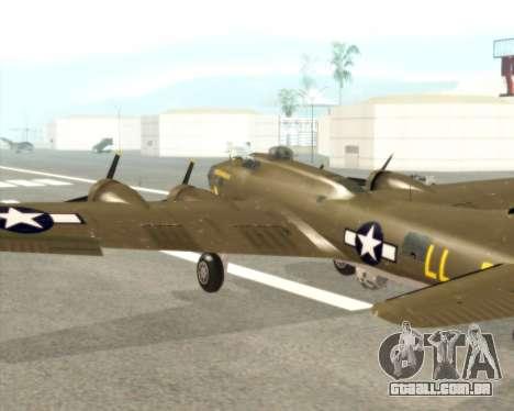 B-17G para GTA San Andreas vista interior