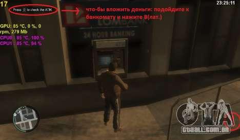 Conta em um caixa eletrônico para GTA 4 segundo screenshot