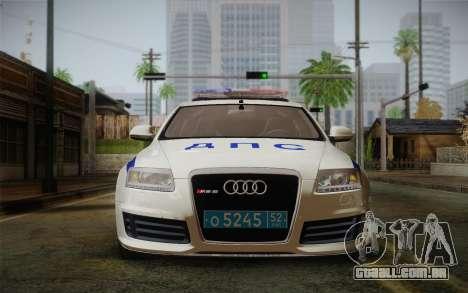 Audi RS6 Police para GTA San Andreas traseira esquerda vista