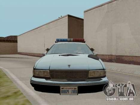 Chevrolet Caprice LAPD 1991 para GTA San Andreas esquerda vista