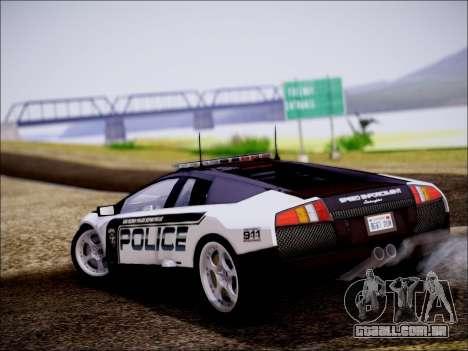 Lamborghini Murciélago polícia 2005 para GTA San Andreas traseira esquerda vista